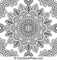 Ethnic seamless pattern, coloring pages template - Ethnic...