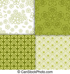 Green decorative floral wallpaper pattern set. Vector...