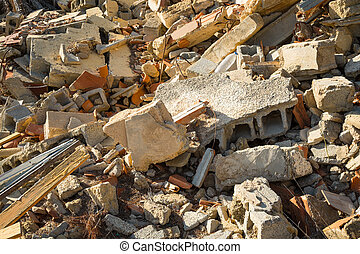 Rubble - Full frame take of assorted demolition site rubble
