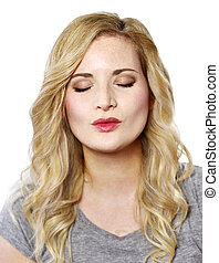 woman with kissing lips. - Beautiful blond woman with...