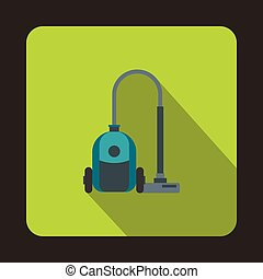 Vacuum cleaner icon, flat style - Vacuum cleaner icon in...