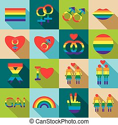 Homosexual icons set, flat style - Homosexual icons set in...