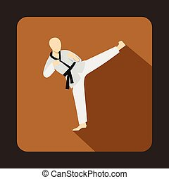 Wushu fighting style icon in flat style - icon in flat style...