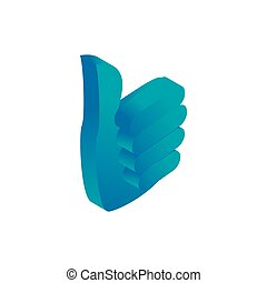 Thumbs up icon, isometric 3d style - Thumbs up icon in...