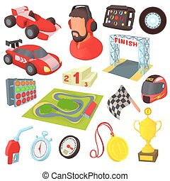 Race icons set, cartoon style - Race icons set in cartoon...