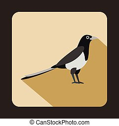 Magpie icon in flat style - icon in flat style on a beige...