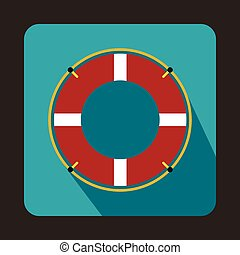 Lifeline icon, flat style - Lifeline icon in flat style with...