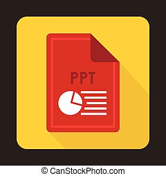 File PPT icon, flat style - File PPT icon in flat style with...