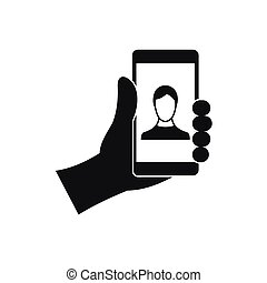 Hand holding smartphone with photo icon