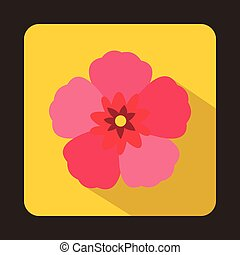 The Rose of Sharon icon, flat style - icon in flat style on...