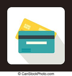 Credit card icon, flat style - Credit card icon in flat...