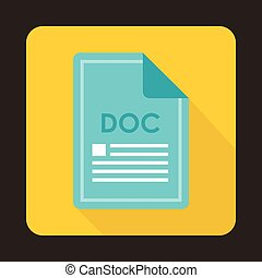 File DOC icon, flat style - File DOC icon in flat style with...