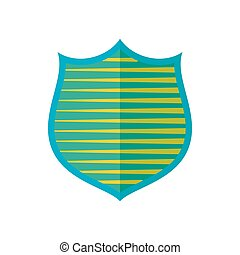Shield with yellow stripes icon, flat style - Shield with...