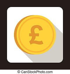 Coin pound sterling icon, flat style - Coin pound sterling...