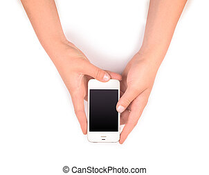 phone in female hands on white
