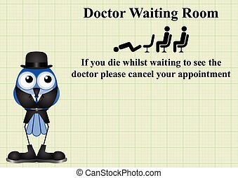 Comical doctor waiting room sign on graph paper background...