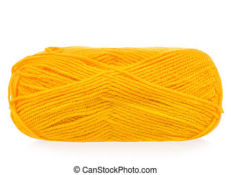 Yellow woolen yarn for knitting isolated on white background