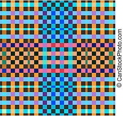 Vibrant colored gingham seamless background. Chequered pattern
