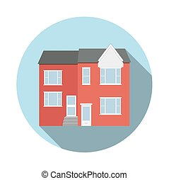 Duplex house flat icon with long shadow. Circle frame. Real...