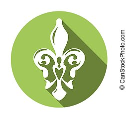 Fleur de lis symbol with long shadow. White lily in a green circle