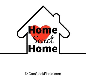 Home sweet home. House. Red heart. Minimal card