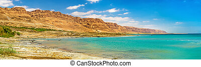 View of the Dead Sea coastline in Israel