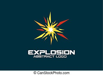 Abstract logo for business company. Explosion, boom, burst, splash logotype idea. Promotion concept. Colorful Vector icon