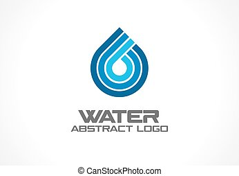 Abstract logo for business company. Eco ocean, nature, spa, aqua Logotype idea. Water drop and wave, blue sea, fresh liquid concept. Colorful Vector line icon