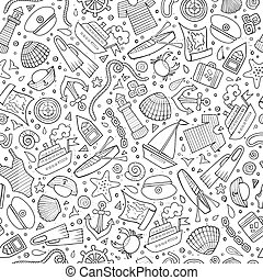 Cartoon nautical seamless pattern - Cartoon cute hand drawn...