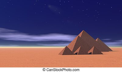 Small pyramids by night