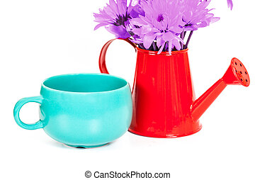 bunch of flowers in the watering pot with cup isolated on white background