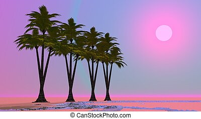 Violet oasis - Four palm trees aligned in a desert with...
