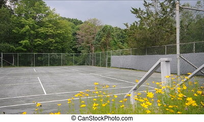 tennis court with zoom to wide angl - tennis club court with...