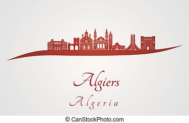 Algiers skyline in red and gray background in editable...