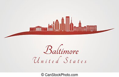 Baltimore skyline in red and gray background in editable...