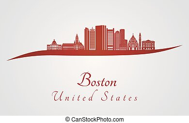 Boston skyline in red and gray background in editable vector...