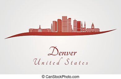 Denver skyline in red