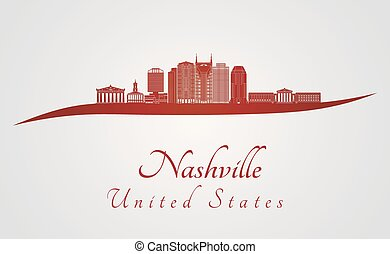 Nashville skyline in red and gray background in editable...