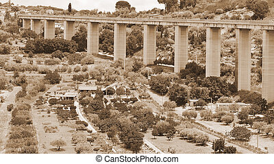 Highway Bridge - Landscape of Sicily with Highway Bridge,...