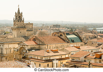 Roofs of Avignon - The old city of Avignon in Provence,...