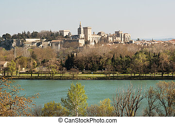 Panorama of Avignon - Historic Avignon on Provence and Rhone...