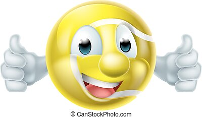 Tennis Ball Man Character - A happy cartoon tennis ball man...