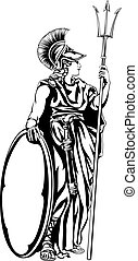 Greek Goddess Athena Warrior - An illustration of the...