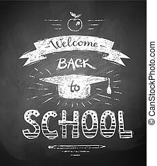 ack to School poster with mortarboard cap - Welcome Back to...