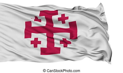 Jerusalem Cross Religious Isolated Waving Flag - Jerusalem...