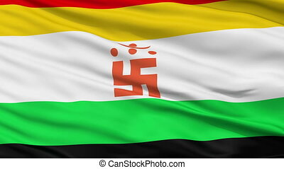 In Jain Religious Close Up Waving Flag - In Jain Religious...