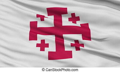Jerusalem Cross Religious Close Up Waving Flag - Jerusalem...