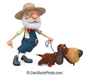 3D, Ilustración, el, granjero, con, Un, perro, y, Un,...