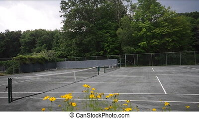 private tennis club court - tennis club court with flowers...