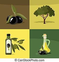 vector illustrations set of Olives, tree, oil botles and...